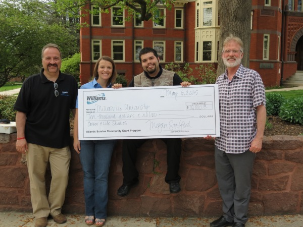 Williams local outreach partners Scott Carney and Megan Stafford presented a check to Millersville University student Daniel Castellanos, a student enrolled in this innovative program, and Professor Thomas Neuville.