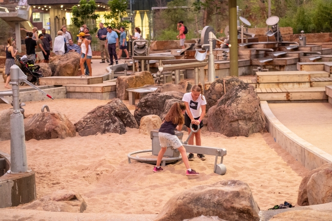families playing at Gathering Place